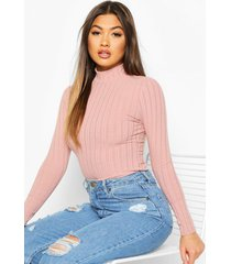long sleeved turtle neck rib top, pink