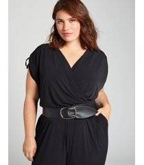 lane bryant women's wide stretch belt 26/28 black