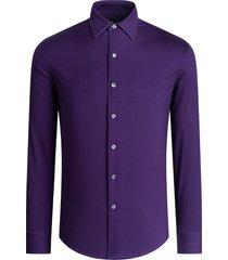 men's bugatchi ooohcotton regular fit tech knit button-up shirt, size x-large - purple