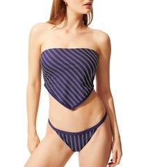 solid and striped women's bianca striped bandeau bikini top - navy white - size xs