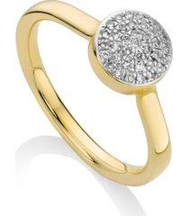 ava diamond button ring, gold vermeil on silver