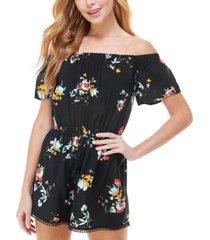 be bop juniors' floral-print off-the-shoulder romper