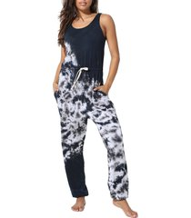 women's electric & rose torrey tie dye jumpsuit, size large - black