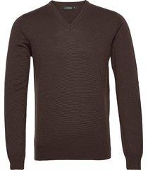 lymann merino v-neck sweater gebreide trui v-hals bruin j. lindeberg