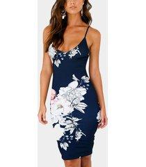 azul marino sin mangas con estampado floral al azar sin espalda vestido con hombro ajustable cinturón