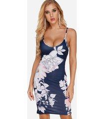 azul marino sin mangas estampado floral al azar sin espalda vestido con hombro ajustable cinturón