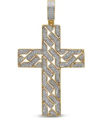 men's diamond (1 ct. t.w.) cross pendant in 14k yellow gold over sterling silver