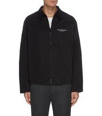 logo print zip shirt jacket