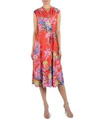 women's julia jordan floral wrap front sleeveless jersey dress, size 16 - orange