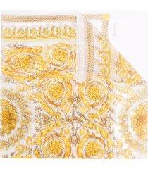 versace baroque printing black trasparent scarf
