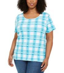 karen scott plus size plaid t-shirt, created for macy's