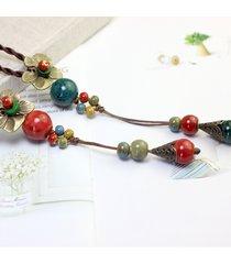 collana etnica con pendente perline