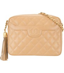 chanel pre-owned 1992 cc tassel diamond-quilted shoulder bag -
