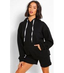 oversized hoodie en shortset, zwart