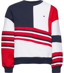 tommy 1985 colourblock crew sweat-shirt trui multi/patroon tommy hilfiger