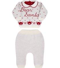 little bear white knit suit for babykids