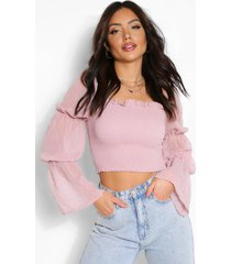 dobby chiffon shirred crop top, mauve