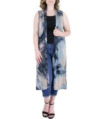 plus size tie dye sleeveless open front cardigan vest
