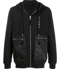 diesel black gold embroidered zipped hoodie