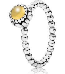 anel de prata pontos com citrino - novembro