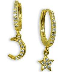 cubic zirconia moon & star charm drop huggie hoop earring in sterling silver or 18k gold plated sterling silver