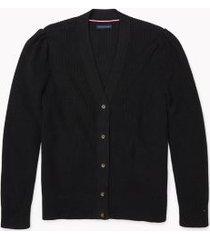 tommy hilfiger women's adaptive puff-sleeve cardigan deep black - s