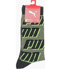 puma puma sock all over logo 2p strumpor yellow