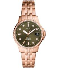fossil women's fb-01 rose gold-tone bracelet watch 36mm