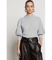 proenza schouler cashmere draped puff sleeve sweater grey melange l