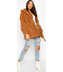 oversized hooded belted faux fur teddy coat, camel