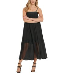 dkny ruched tiered maxi dress