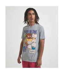 camiseta manga curta com estampa rugrats | rugrats | cinza | pp