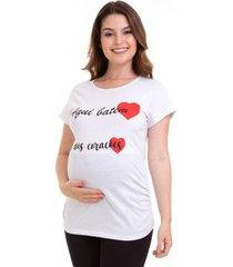 camiseta gestante manga curta dois corações em algodão luna cuore