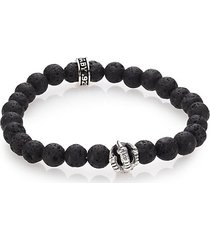 lava rock & onyx beaded bracelet