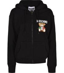 moschino bear logo zip hoodie