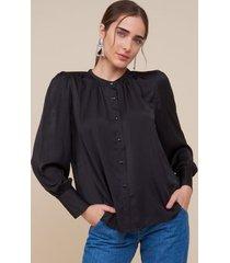 amaro feminino camisa essential detalhes franzidos, preto