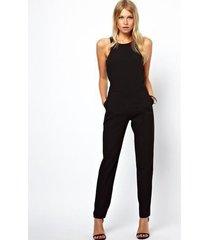 monos elegantes de pierna ancha para mujer puños con adornos negros mono largo sin mangas-negro