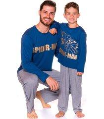 pijama pai e filho evanilda camiseta manga longa e calã§a spider man azul e mescla - azul/cinza - menino - algodã£o - dafiti