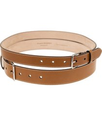 alexander mcqueen double belt in smooth brown leather with silver buckles
