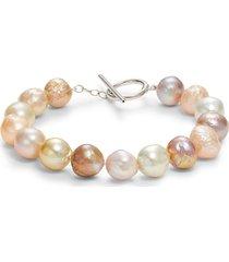 belpearl women's sterling silver & 10-11mm baroque cultured pearl bracelet