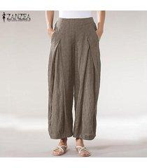 zanzea mujeres ocasionales sueltan los pantalones largos de las señoras bolsillos anchos el tamaño de la pierna pantalones plus -caqui