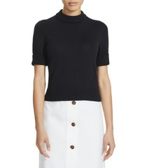 women's lafayette 148 new york crop short sleeve cotton & silk sweater, size large - black