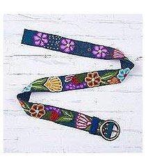 wool belt, 'garden fashion in teal' (peru)