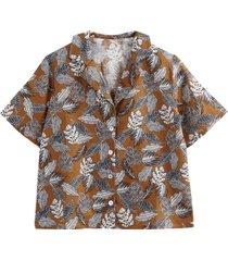 blommönstrad skjorta med krage med slag i linneblandning