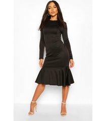long sleeve fish tail midi dress, black