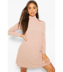 cold shoulder roll neck swing dress, sand