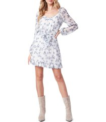 women's paige kiki floral long sleeve dress, size x-small - blue