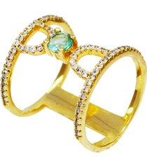 anel duplo cravejado com cristal turmalina