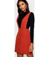 plunge front button pinafore dress, rust