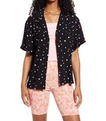 bp. oversize camp shirt, size large in black mckenna floral at nordstrom
